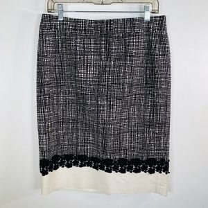 Talbots Black/Cream Lined Skirt With Lace Size 8